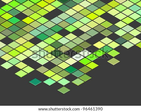 3d render top view green colored cubes on gray - stock photo