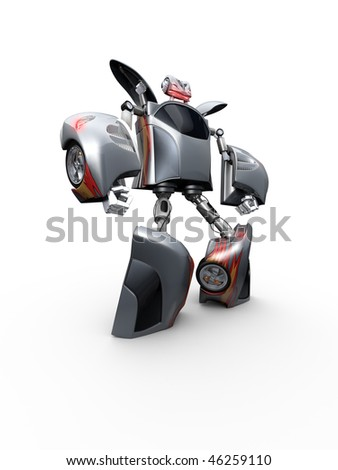 3d Render Toy Robot with wheels - stock photo