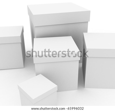 3d render: white boxes