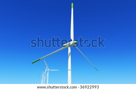 3D render - wind turbine side view close-up - stock photo