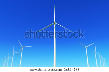 3D render - wind turbines power plant - stock photo