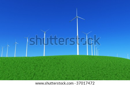 3D render - wind turbines power plant on green meadow. - stock photo