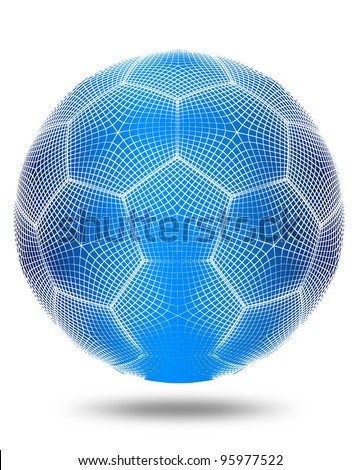 3d render wireframe football on white background.