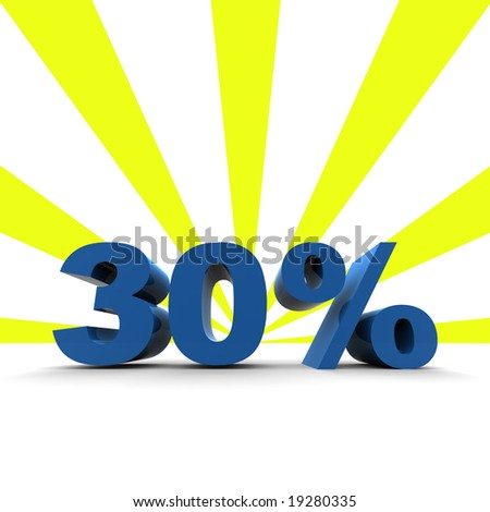 3D render 30% with retro background - stock photo