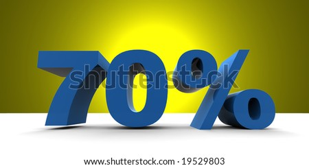 3D render 70% with yellow spotlight - stock photo