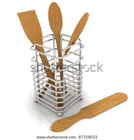 3d render wooden kitchen spoons - stock photo