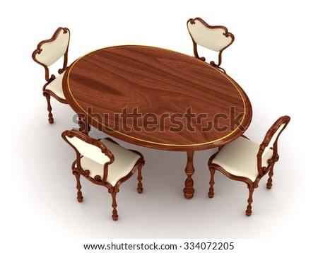 3d render wooden table and chairs on white background - stock photo
