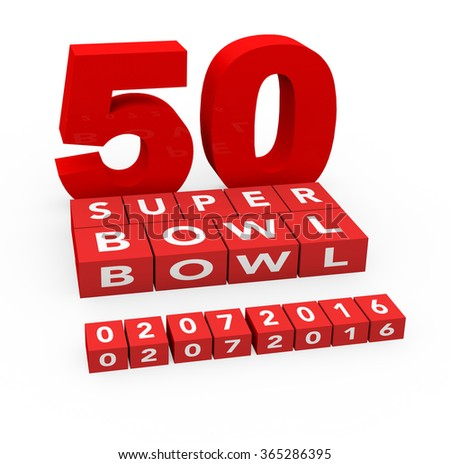 3d render 50 years Super Bowl 2016 on a white background.  - stock photo