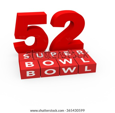 3d render 52 years Super Bowl 2018 on a white background.