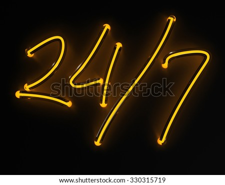 3d render 24 / 7 yellow neon sign isolated on black background. For restaurant promo spot on dark wall. - stock photo