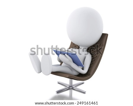 3d rendere image. White people relax  on a chair. Isolated white background