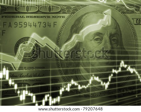 3D Rendered Abstract Background of one hundred dollar bill with stock market chart in brown hue - stock photo