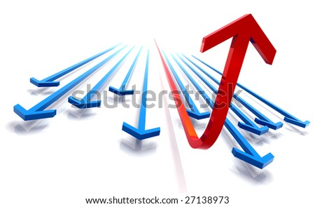 3D rendered abstract financial diagram and ascending arrow