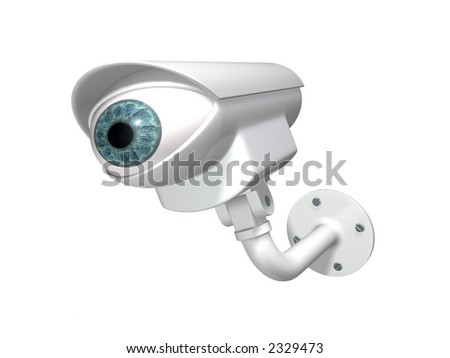 3D rendered abstract security camera with the eye - stock photo