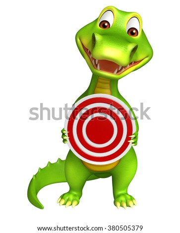 3d Rendered alligator cartoon character with target sign - stock photo