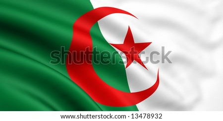 3d rendered and waving flag of algeria - stock photo