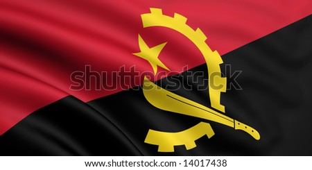 3d rendered and waving flag of angola - stock photo