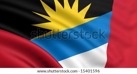 3d rendered and waving flag of antigua and barbuda - stock photo