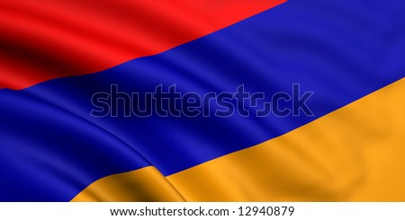 3d rendered and waving flag of armenia - stock photo