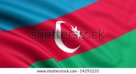 3d rendered and waving flag of azerbaijan - stock photo