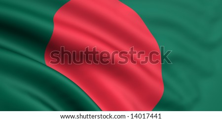 3d rendered and waving flag of bangladesh - stock photo