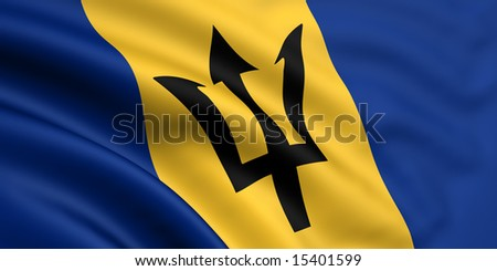 3d rendered and waving flag of barbados - stock photo