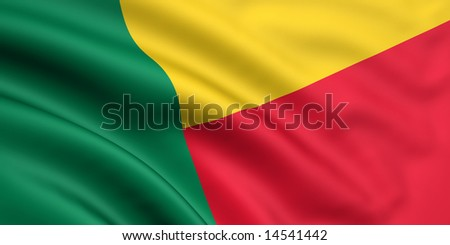 3d rendered and waving flag of benin - stock photo