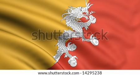 3d rendered and waving flag of bhutan - stock photo