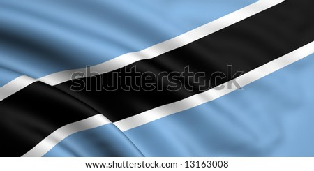 3d rendered and waving flag of botswana - stock photo