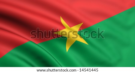 3d rendered and waving flag of burkina faso - stock photo