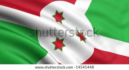 3d rendered and waving flag of burundi - stock photo