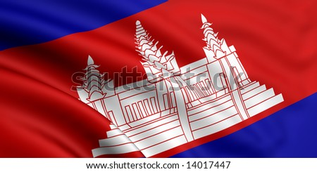3d rendered and waving flag of cambodia - stock photo