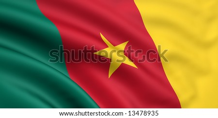 3d rendered and waving flag of cameroon - stock photo