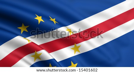 3d rendered and waving flag of cape verde - stock photo