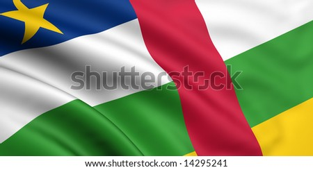 3d rendered and waving flag of central african republic - stock photo