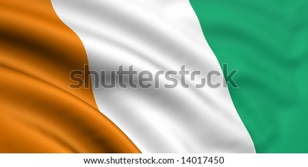 3d rendered and waving flag of cote d'ivoire - stock photo