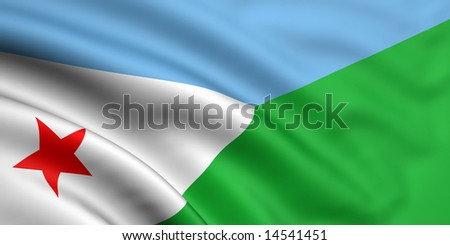 3d rendered and waving flag of djibouti - stock photo