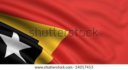 3d rendered and waving flag of east timor - stock photo