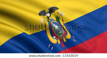 3d rendered and waving flag of ecuador - stock photo
