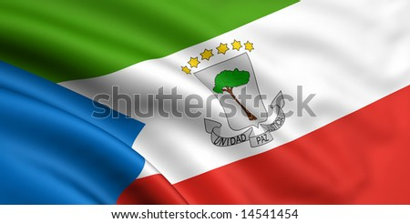 3d rendered and waving flag of equatorial guinea - stock photo