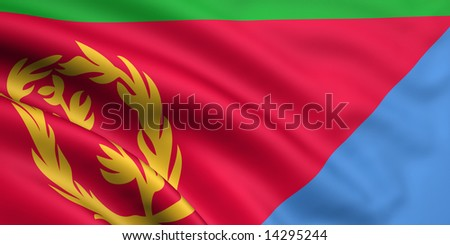 3d rendered and waving flag of eritrea - stock photo