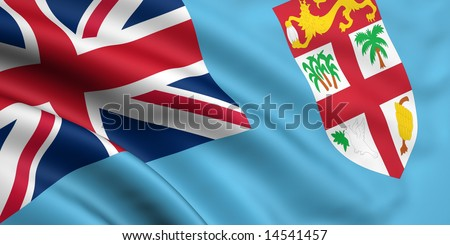 3d rendered and waving flag of fiji - stock photo