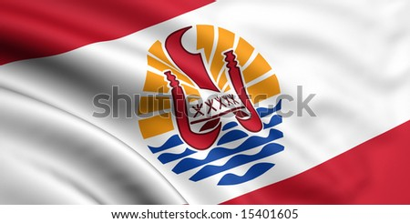 3d rendered and waving flag of french polynesia - stock photo