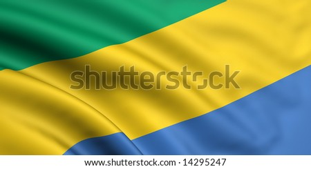 3d rendered and waving flag of gabon - stock photo