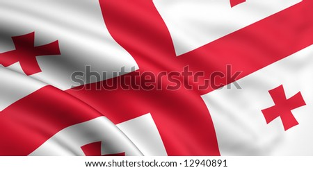3d rendered and waving flag of georgia - stock photo