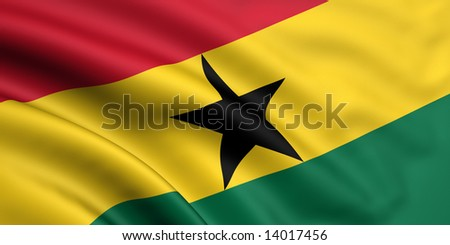 3d rendered and waving flag of ghana - stock photo