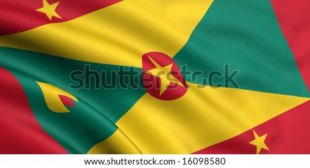 3d rendered and waving flag of grenada - stock photo