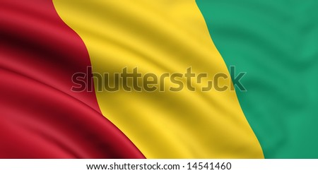 3d rendered and waving flag of guinea - stock photo