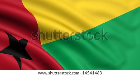 3d rendered and waving flag of guinea bissau - stock photo