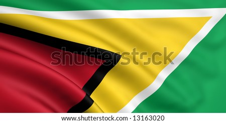 3d rendered and waving flag of guyana - stock photo